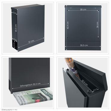 MOCAVI Box 111 Moderner Briefkasten anthrazit RAL 7016 graviertes V4A-Edelstahl-Namensschild Zeitungsfach – Bild 4