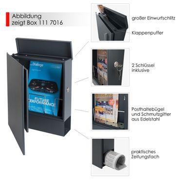 MOCAVI Box 111 Briefkasten anthrazit mit Hausnummer RAL 7016 V4A-Edelstahl Zeitungsfach – Bild 4
