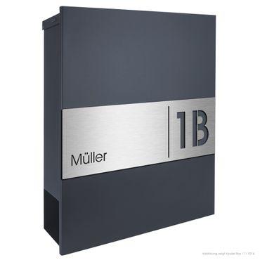 MOCAVI Box 111 Briefkasten anthrazit mit Hausnummer RAL 7016 V4A-Edelstahl  Zeitungsfach