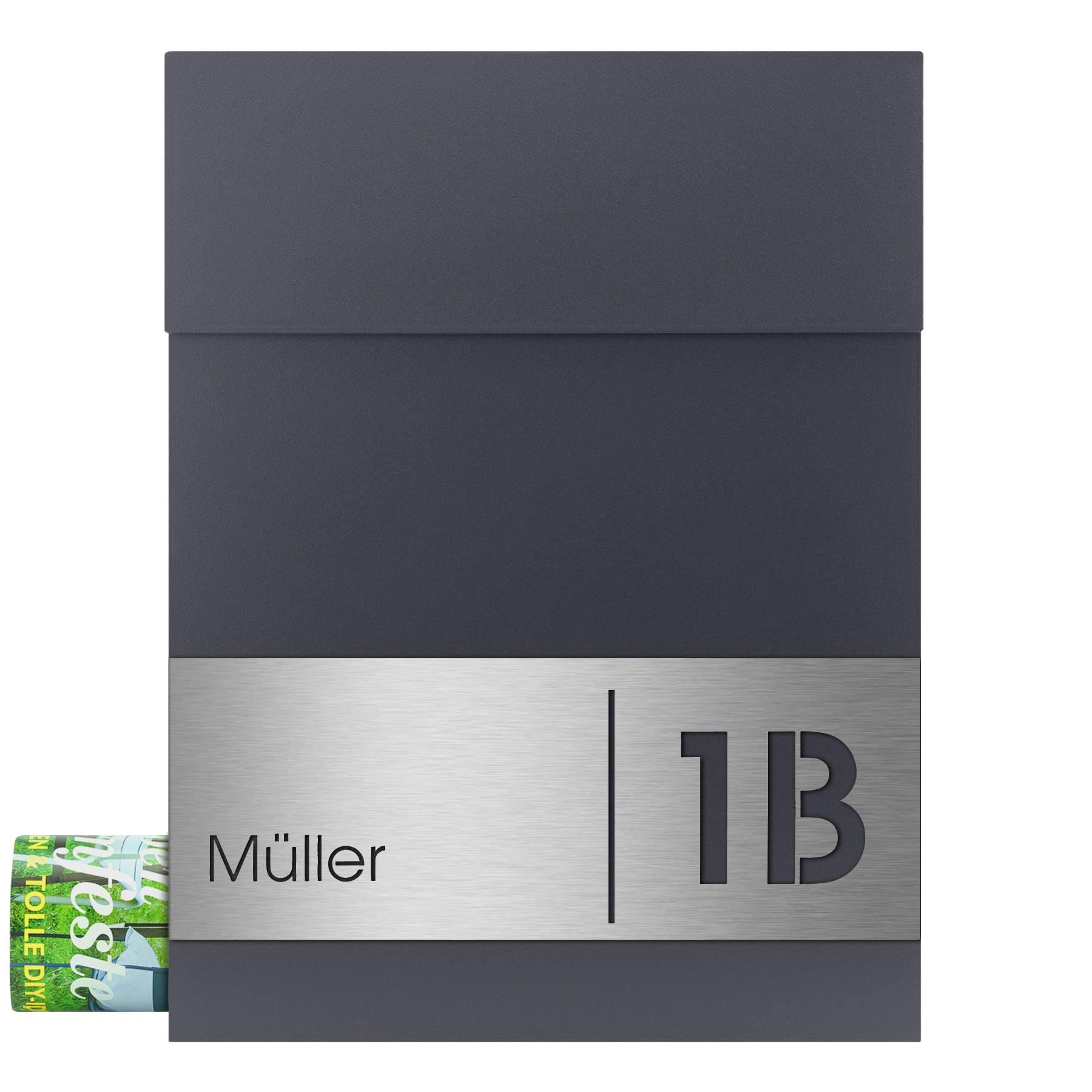MOCAVI Box 500 plus eine Edelstahl Hausnummer V4A Briefkasten anthrazit RAL 7016
