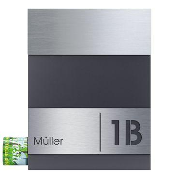 MOCAVI Box 510 Design-Briefkasten anthrazit (RAL 7016) graviertes Edelstahlschild V4A Name Hausnummer mit Zeitungsfach – Bild 1