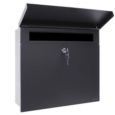 Letterman 4 anthrazit-grau RAL 7016 mit V4A-Edelstahl-Schild Gravur Hausnummer und Namen Design-Briefkasten von Radius Design – Bild 2