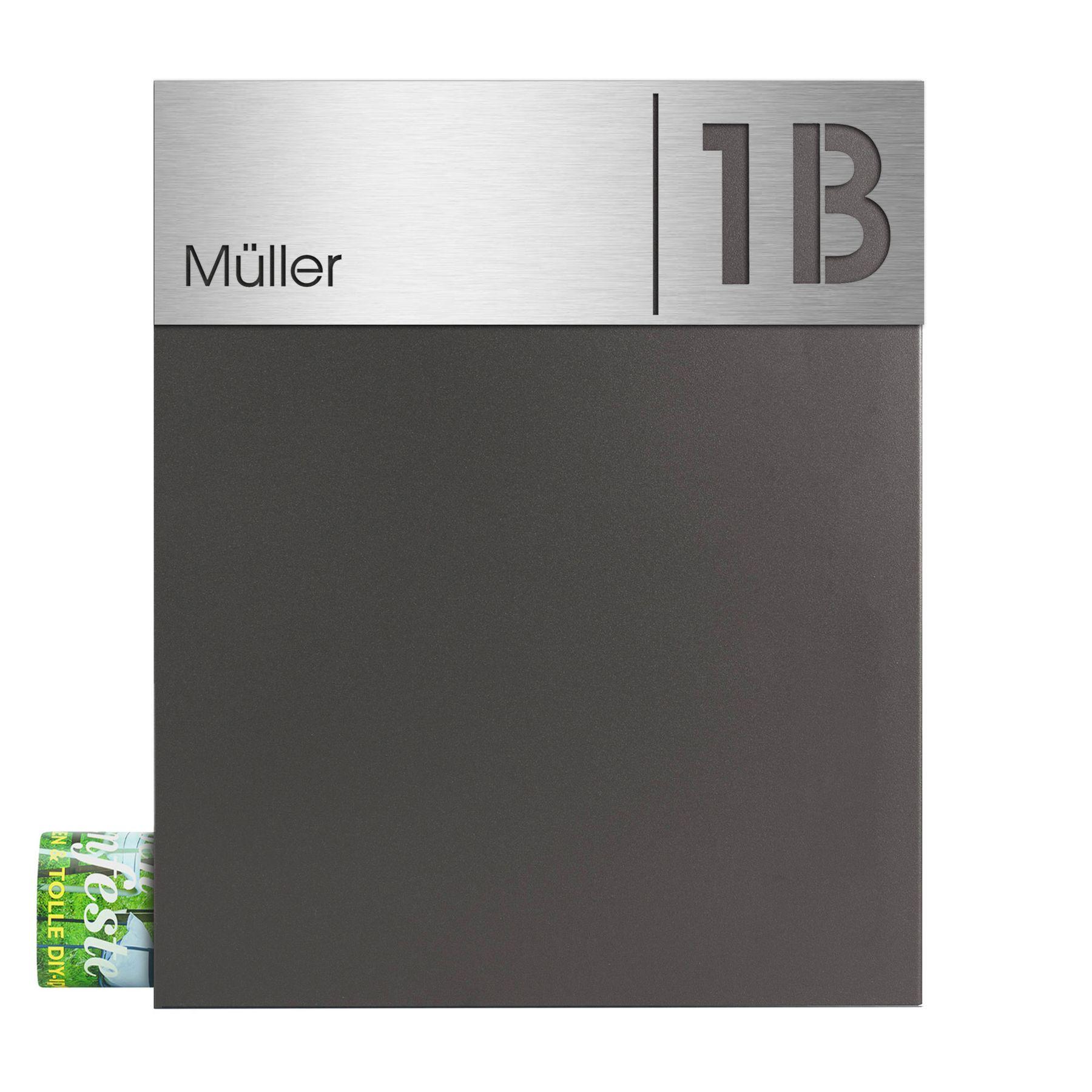MOCAVI Box 111 Design-Briefkasten mit Name und Hausnummer V4A-Edelstahl /  anthrazit eisenglimmer DB 703 Zeitungsfach