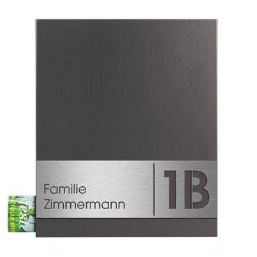 MOCAVI Box 111 Briefkasten mit Zeitungsfach anthrazit-eisenglimmer (DB 703) inkl. Name und Hausnummer V4A-Edelstahl