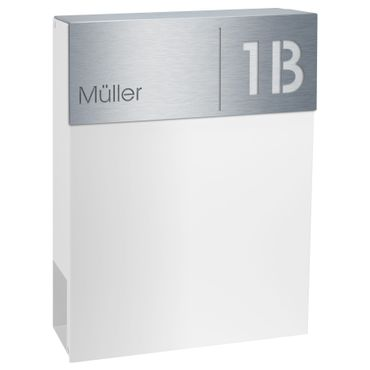 MOCAVI Box 510 Design-Briefkasten weiss (RAL 9003) Edelstahlschild V4A Name Hausnummer mit Zeitungsfach – Bild 2