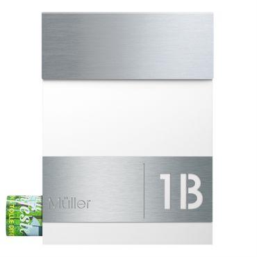 MOCAVI Box 510 Briefkasten Edelstahl / signal-weiß (RAL 9003) inkl. Name + Hausnummer graviert