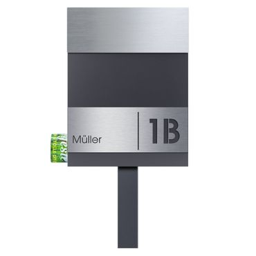 MOCAVI SBox 510 Standbriefkasten Edelstahl / anthrazit (RAL 7016) inkl. Name + Hausnummer graviert