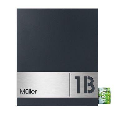 MOCAVI Box 111R Briefkasten mit Name und Hausnummer graviert V4A-Edelstahl / anthrazit RAL 7016 Zeitungsfach inkl. Gravur