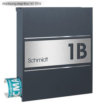 MOCAVI Stick 335 (für Box 141) Briefkastenschild mit Hausnummer und Namen Edelstahl V4A graviert & selbstklebend – Bild 2