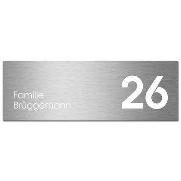 MOCAVI Stick 435 Briefkastenschild mit Hausnummer und Namen Edelstahl V4A graviert, groß, selbstklebend, modernes Design