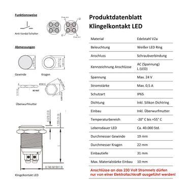 MOCAVI RING 505 moderne Klingelplatte anthrazit aus V4A-Edelstahl, quadratisch (8,5 cm), LED-Taster – Bild 4
