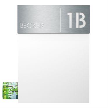 MOCAVI Box 500 Design-Briefkasten mit Zeitungsfach signal-weiß (RAL 9003) inkl. Name + Hausnummer graviert