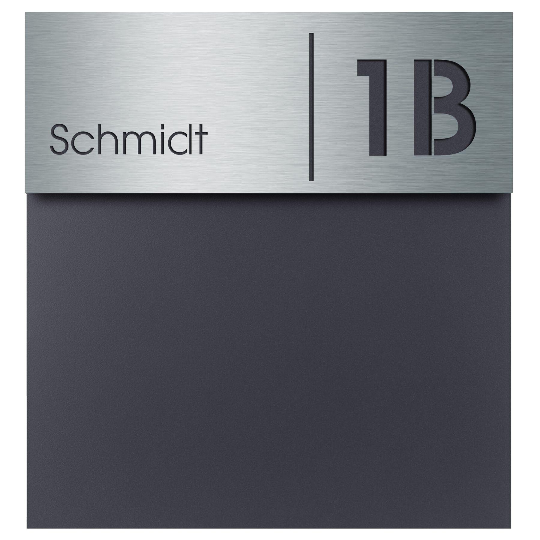 RAL 7016 Edelstahl Hausnummer-//Namensschild Gravur anthrazit-grau modern gro/ß MOCAVI Box 570 Design-Briefkasten inkl