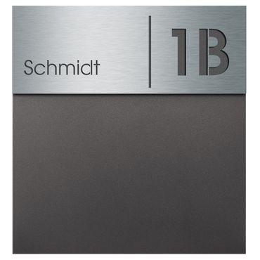 MOCAVI Box 570 Design-Briefkasten anthrazit-eisenglimmer (DB 703) inkl. Name + Hausnummer graviert