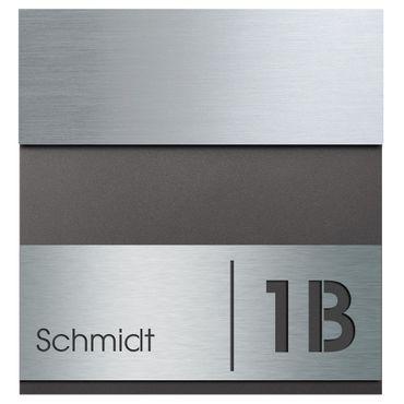 MOCAVI Box 580 Briefkasten Edelstahl / anthrazit-eisenglimmer (DB 703) inkl. Name + Hausnummer graviert