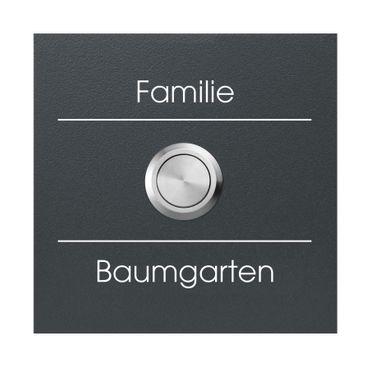 MOCAVI RING 500 G02 Qualitäts-Klingelplatte anthrazti mit Gravur aus V4A-Edelstahl, quadratisch (8,5 cm) – Bild 1