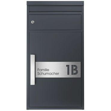 Paketbriefkasten SafePost 65MS inkl. Hausnummer- und Namensschild graviert V4A-Edelstahl/anthrazit RAL 7016 Design-Paketkasten modern