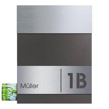 MOCAVI Box 510 Briefkasten Edelstahl / anthrazit-eisenglimmer (DB 703) inkl. Name + Hausnummer graviert