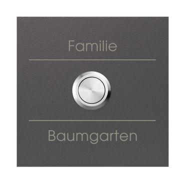 MOCAVI RING 500 G02 Qualitäts-Klingel anthrazit-eisenglimmer (DB 703) mit Gravur, quadratisch (8,5 cm)