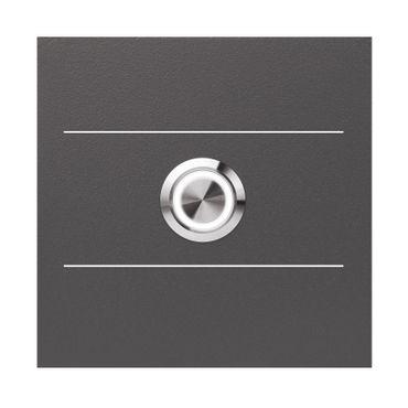 MOCAVI RING 505 G01 LED-Klingel anthrazit-eisenglimmer (DB 703) mit Edelstahl-Detail, quadratisch (8,5 cm)
