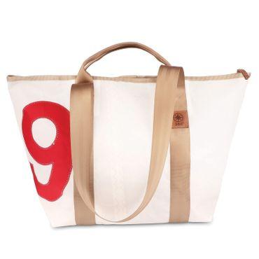 360 Grad Schlepper Mini Segeltuchtasche Reisetasche klein weiß, Zahl rot, Gurt beige