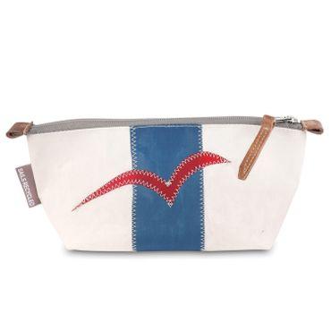 360 Grad Navigator Federmäppchen Etui weiß-blau mit Möwe rot aus Segeltuch  Etui, weiß-blau, Möwe rot