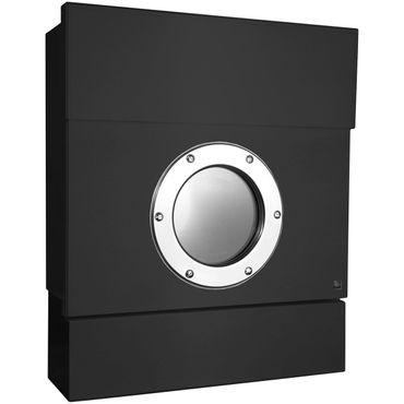 Letterman 2 Radius Design Briefkasten mit Zeitungsrolle schwarz (RAL 9005), Sichtfenster, verdecktes Schloss, Wand-Postkasten – Bild 1