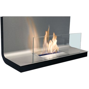 Wall Flame I schwarz Edelstahl gebürstet Biokamin - 536 a – Bild 1