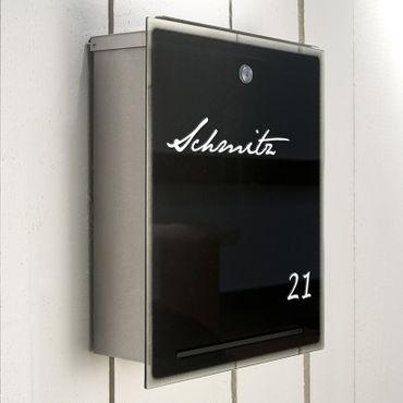 Radius Letterman 3 Edelstahl Glas schwarz Briefkasten - 559 b – Bild 2